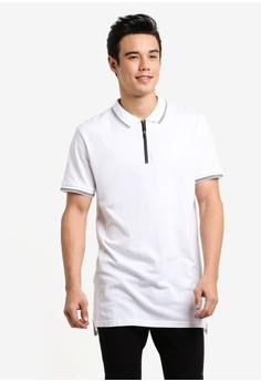 Image of Ae Short Sleeve Longline Zip Polo Shirt