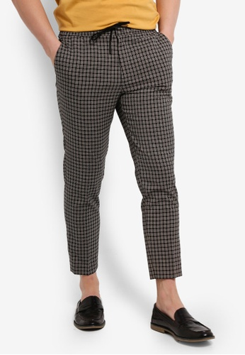 Buy Topman Pearl Checkered Relax Crop Trousers Online on ZALORA Singapore 416603513325a