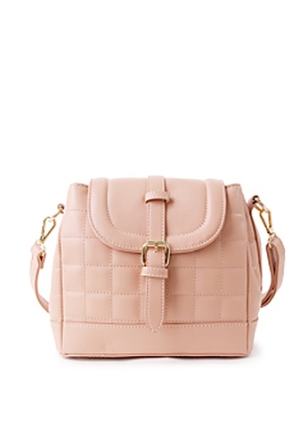 Sesura pink Quilted Boxes Bucket Bag SE113AC08LAHPH_1