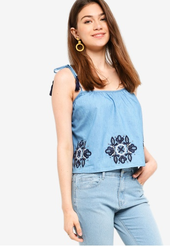 Something Borrowed blue Embroidered Swing Top 49110AA36448F0GS_1