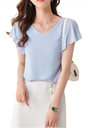 HAPPY FRIDAYS blue Feminine Chiffon Ruffle Sleeve Top JW ZX-80136 C7F00AA283A7BDGS_1