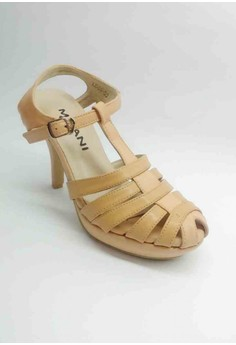Lea Formal Peach Sandal Strappy front with T-strapwith a Half inch Platform.