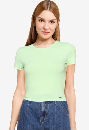 Hollister green Baby Tee 678F8AACA8431BGS_1