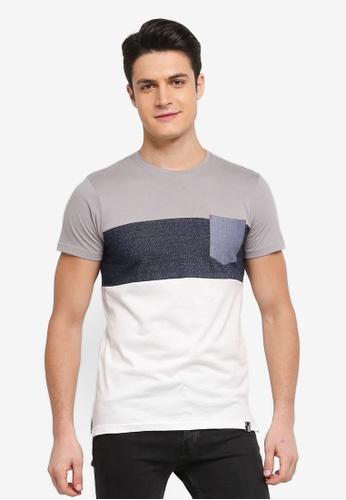 Indicode Jeans 灰色 短袖撞色口袋T恤 F3DB4AA4DDE853GS_1