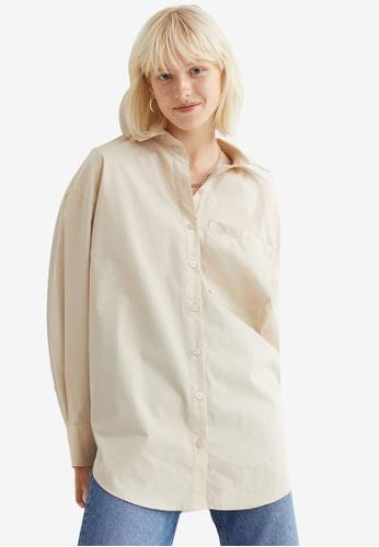 H&M beige Oversized Cotton Shirt 73741AADCE0F12GS_1