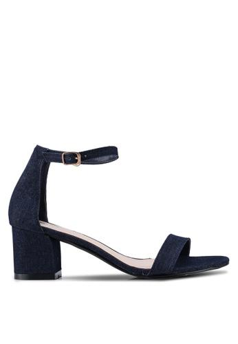 Bata 藍色 丹寧一字帶低跟鞋 FD01DSH91D44DDGS_1