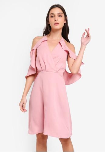 47ef6e56d8a9 ZALORA pink Cold Shoulder Bare Back Fit & Flare Dress 29B3CAA2541A1FGS_1