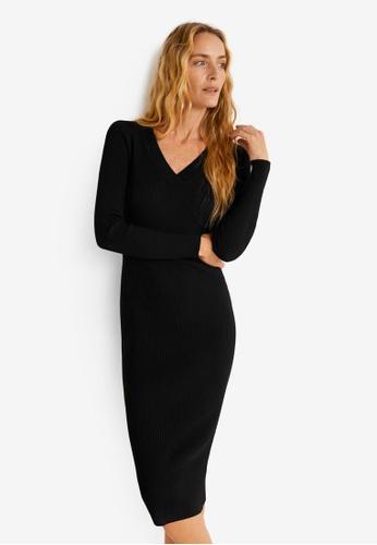 Mango black Ribbed Midi Dress 4212BAA7DF0B87GS_1