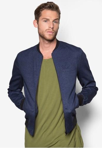 Navy Textured Jersey esprit台灣網頁Bomber Jacket, 服飾, 外套