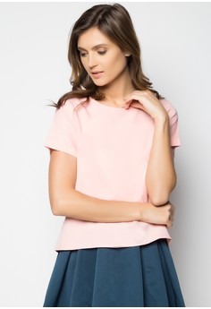 Short Sleeves Surplice Back Shirt