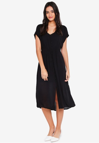 Vero Moda black Ciao Button Short Sleeve Calf Dress 36F2CAA11C1A4AGS_1