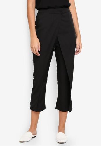 ZALORA black Tailored Wrap Front Pants 15864AAE2B7FCCGS_1