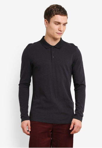 Selected Homme grey Dante Long Sleeve Polo Shirt SE364AA0SE4BMY_1