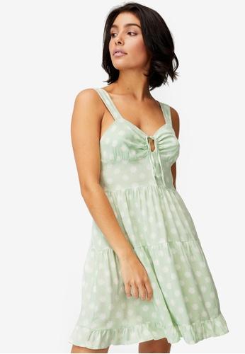 Cotton On green Woven Sandy Skater Dress 3FF4BAA75FD94EGS_1