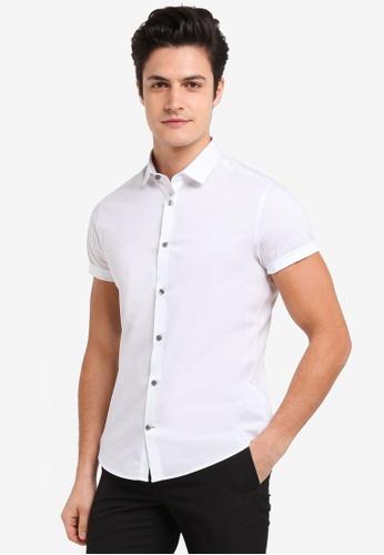 Burton Menswear London 白色 素色短袖牛津襯衫 53E5DAA603D922GS_1