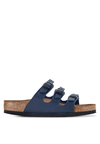 Birkenstock blue Florida Soft Footbed Birko-Flor Sandals BI090SH58JQVMY_1