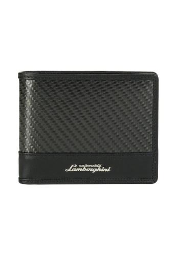 Lamborghini black Automobili Lamborghini® Techno Black Calf Leather & Carbon Fiber Wallet and Credit Cards holder D9029AC2F8E582GS_1