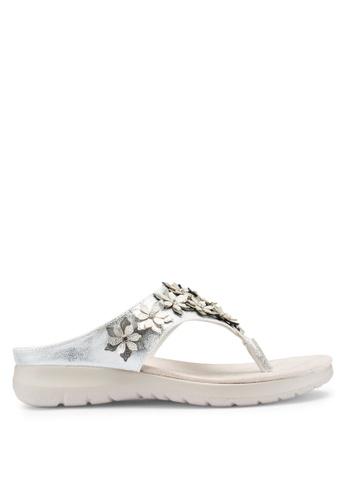 Carlton London 銀色 花卉夾腳涼鞋 CB976SHC087561GS_1
