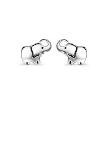 Glamorousky silver 925 Sterling Silver Simple Cute Elephant Stud Earrings 53467ACCD8C41DGS_1