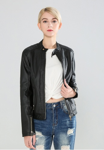 London Rag black Zipper Faux Leather Biker Jacket 0A10CAA4F5EAA4GS_1