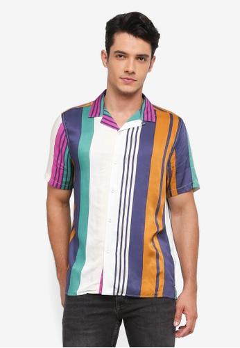 Topman multi Striped Revere Shirt 59ABBAA988639CGS_1