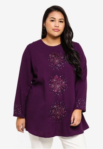 BYN purple Plus Size Muslimah Blouse B6F39AAE8FEA20GS_1