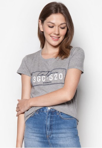 文字印花棉zalora 折扣碼質T 恤, 服飾, T恤