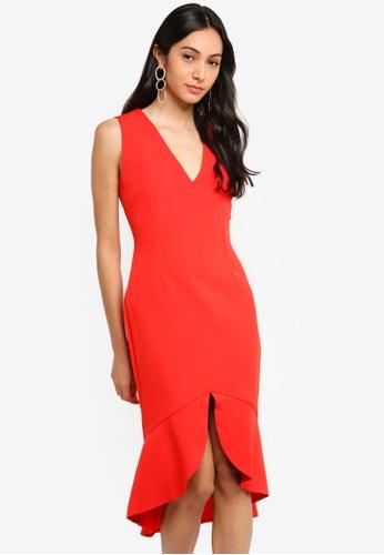 Vesper red Ida Frill Hem Midi Dress 616C6AA49F47C3GS_1