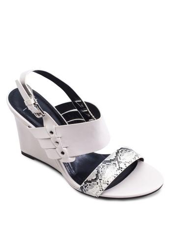 Claudia 蛇紋寬帶繞踝楔zalora是哪裡的牌子形鞋, 女鞋, 中跟