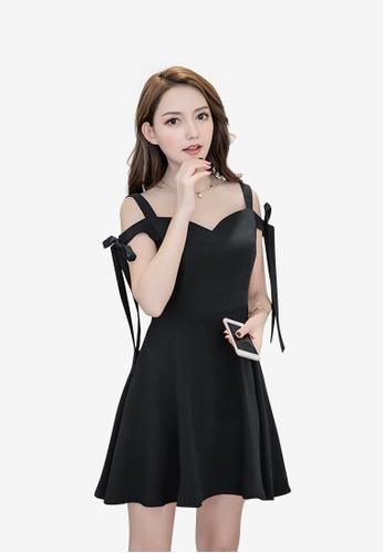 hk-ehunter black Camisole Solid Coloured A-Line Dress 4EF4CAA206A78FGS_1