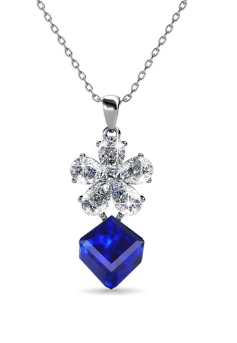Her Jewellery blue and silver Square Coral Pendant (Blue)-  Made with premium grade crystals from Austria D2497ACE09ACECGS_1