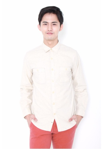 Dockers white Dockers Chambray Long Sleeve Fitted Shirt Paper White DO282AA0G6OKSG_1