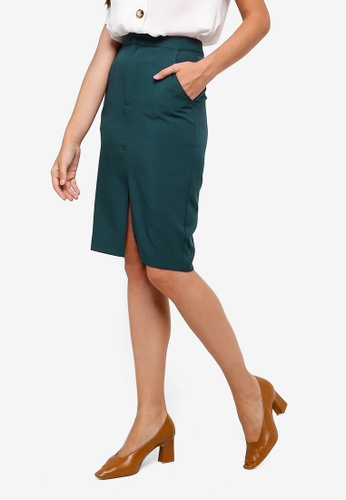 ZALORA green Pencil Skirt With Slit 370B0AA0FEE903GS_1