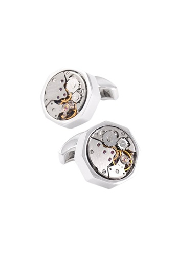 Kings Collection silver Vintage Octagon Watch Functional Mechanical Cuff links with Box KI358AC0GVDTSG_1