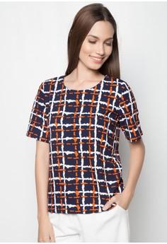 Short Sleeves Jacquard Blouse