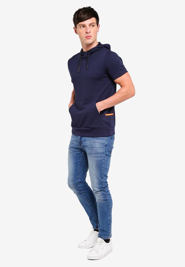 Navy Hooded ESPRIT T Shirt Short Sleeve B5qBX