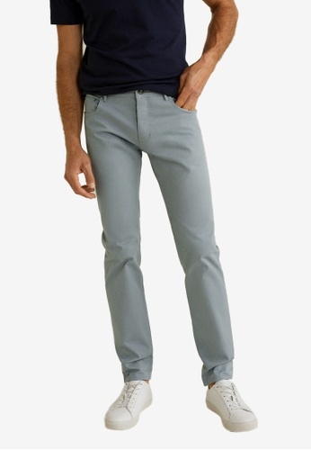 Mango Man 灰色 Slim-Fit 5 Pocket Cotton Trousers 96615AA94D9BE1GS_1