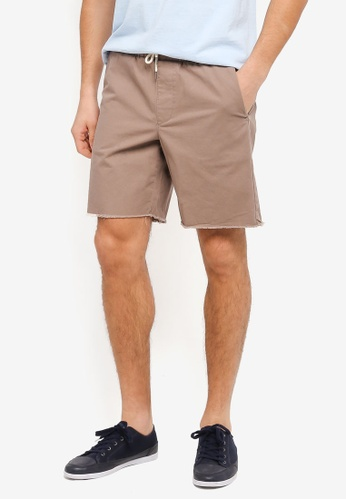 Topman brown Mushroom Long Pull On Shorts TO413AA0T1MZMY_1