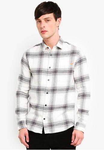 Only & Sons 白色 長袖格紋襯衫 9244CAAC890F36GS_1