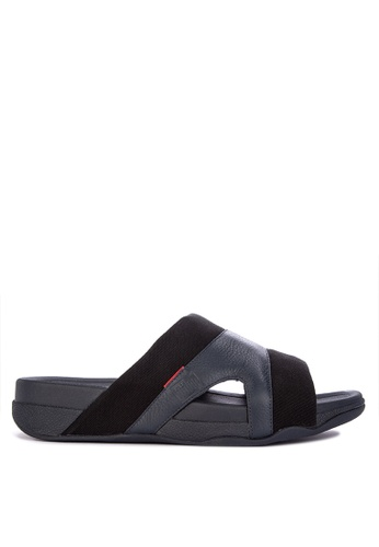 Fitflop navy Freeway Pool Slide In Leather/Canvas Mix 1EFB1SH3B8BCA6GS_1