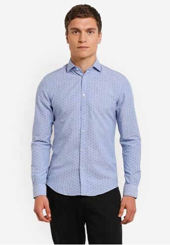 ESPRIT blue Woven Long Sleeve Shirt ES374AA0RNQSMY_1