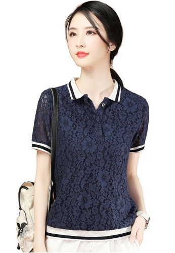 A-IN GIRLS navy Elegant Lace Chiffon Blouse A3A56AA38DCBE7GS_1