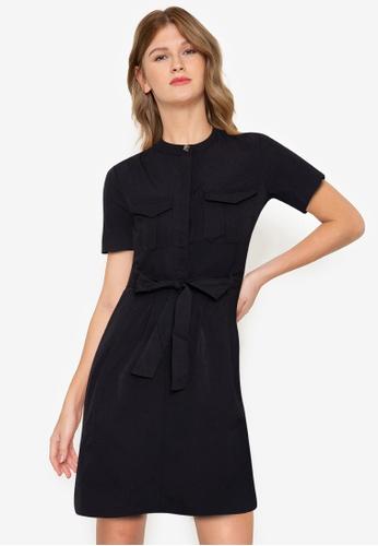ZALORA BASICS black Tie Front Utility Dress 300DFAA28B2B47GS_1