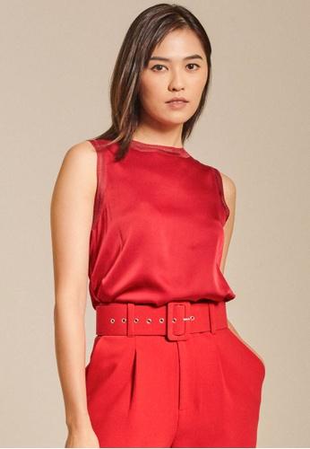 Dressing Paula red Rib-Trimmed Satin Top 66C86AA1DF8CD2GS_1