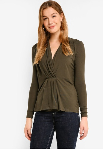 Vero Moda green Esta Long Sleeve Pleated Blouse F02BFAAC138A1AGS_1