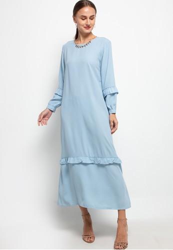 SIMPLICITY blue Ruffles Necklace Maxi Dress 1B4CEAAF63B7DCGS_1