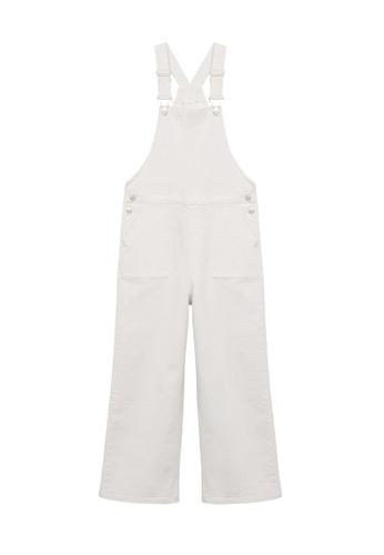 MANGO KIDS white Wide-Leg Denim Dungarees 38734KA6A9449BGS_1