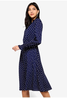 b7540aabd9 ZALORA multi and navy Button Detail Long Sleeves Dress 72ABBAAAD55368GS 1