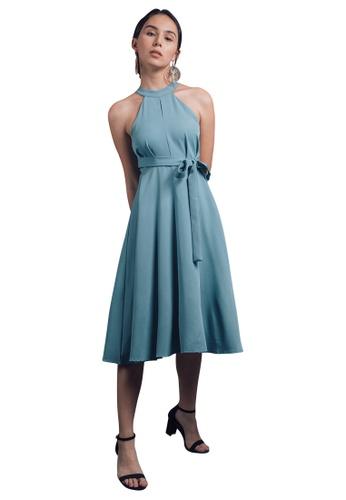 Caoros blue Halter Empire Waist Dress 8AF76AAE10384DGS_1