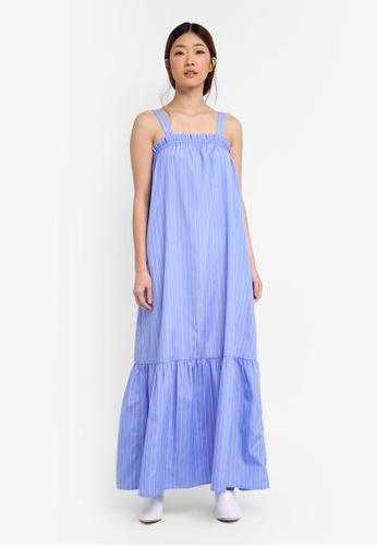 Something Borrowed blue Panelled Ruffle Maxi Dress 82538AA3074C3DGS_1